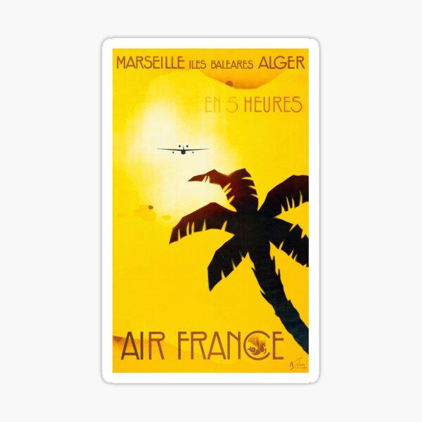 Marseille Iles Baleares Alger En 5 Heures - Weinlese-Luftfrankreich-Reise-Plakat Sticker
