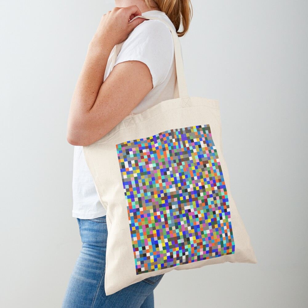 #Design, #pattern, #illustration, #art, abstract, square, pixel, color image Tote Bag