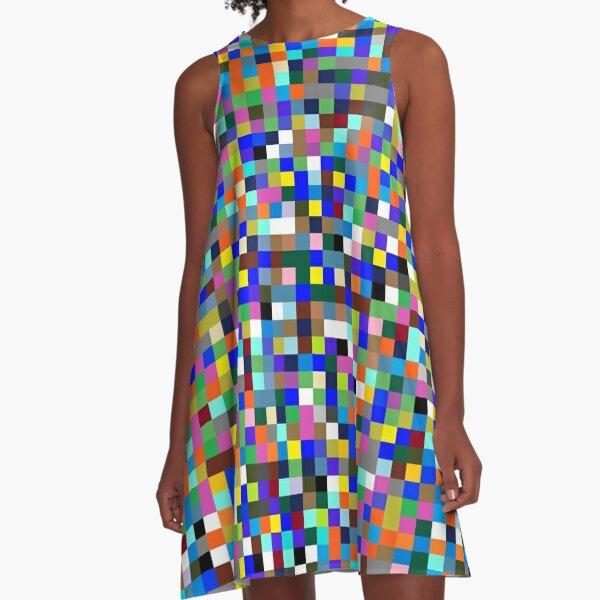 #Design, #pattern, #illustration, #art, abstract, square, pixel, color image A-Line Dress