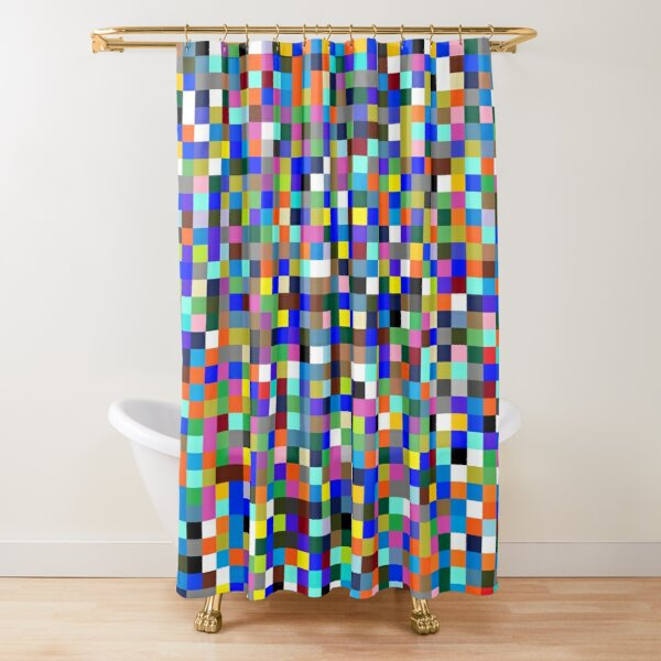 #Design, #pattern, #illustration, #art, abstract, square, pixel, color image Shower Curtain