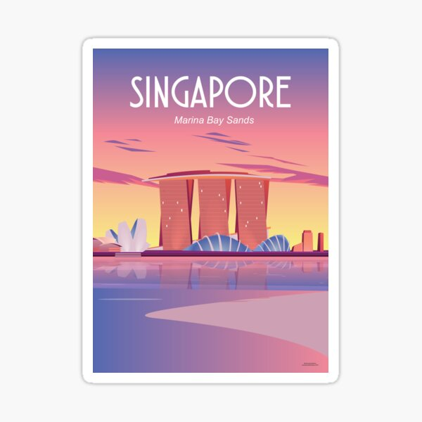 Singapore Travel poster, Marina bay sands Sticker