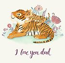 Tiger father and cub by kimfleming