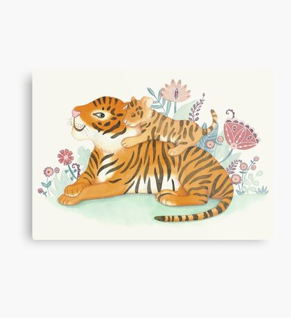 Tiger and little cub Metal Print