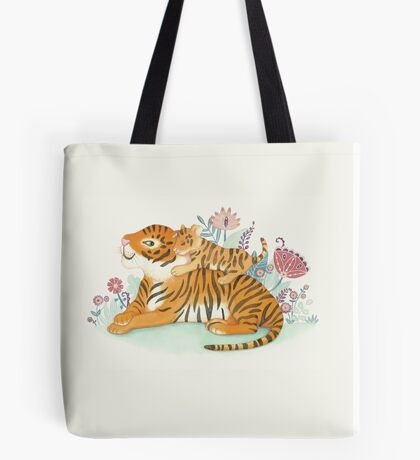Tiger and little cub Tote Bag