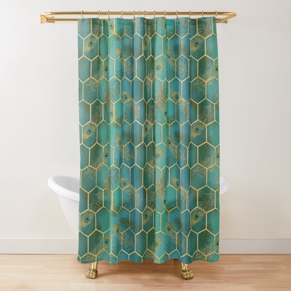 Gold lux for peacocks Shower Curtain
