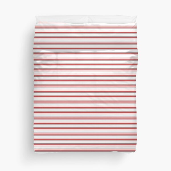 Mattress Ticking Narrow Horizontal Striped Pattern in Red and White Duvet Cover