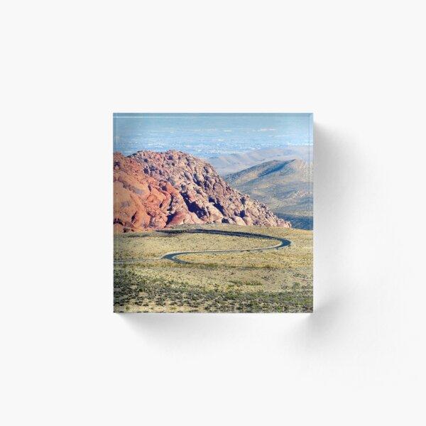 Curvy Road in the Nevada desert Acrylic Block