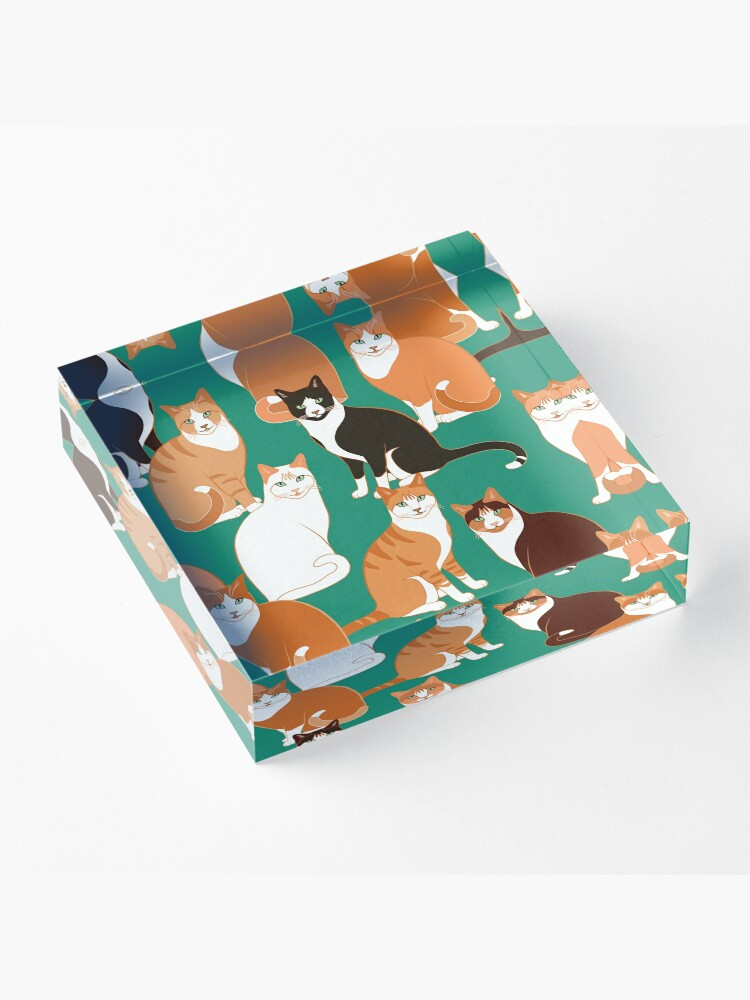 Alternate view of Ginger Cats on teal Acrylic Block