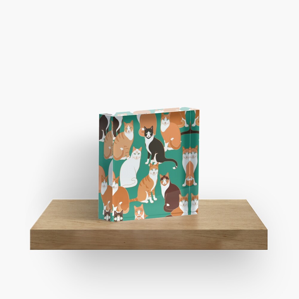 Ginger Cats on teal Acrylic Block