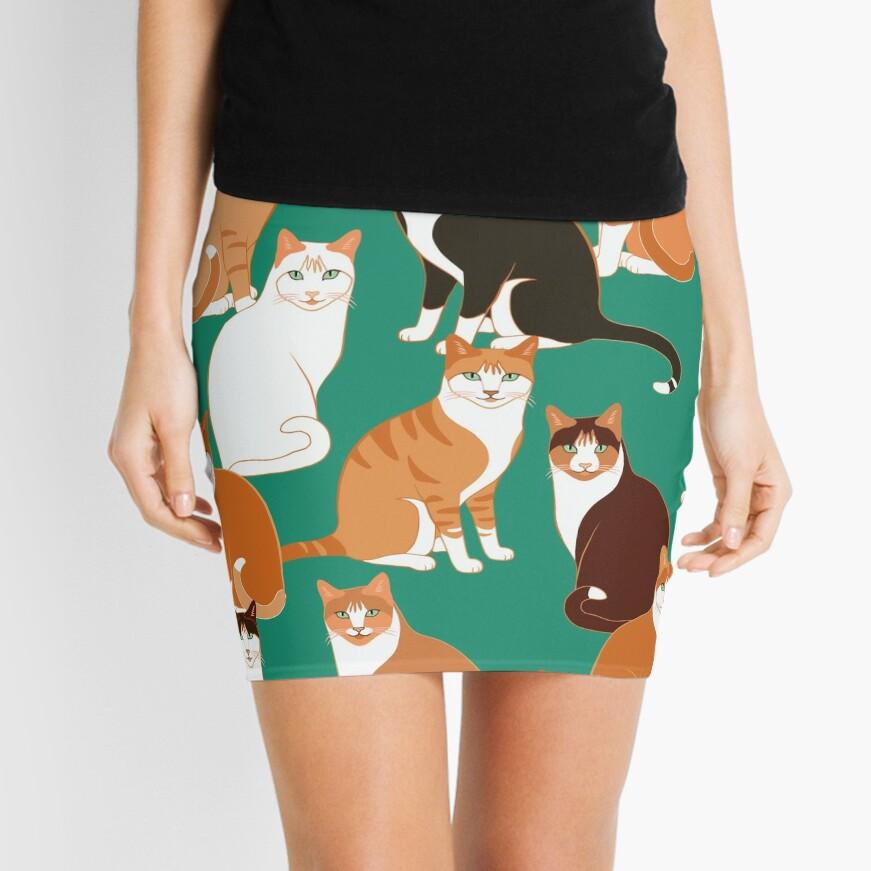 Ginger Cats on teal Mini Skirt