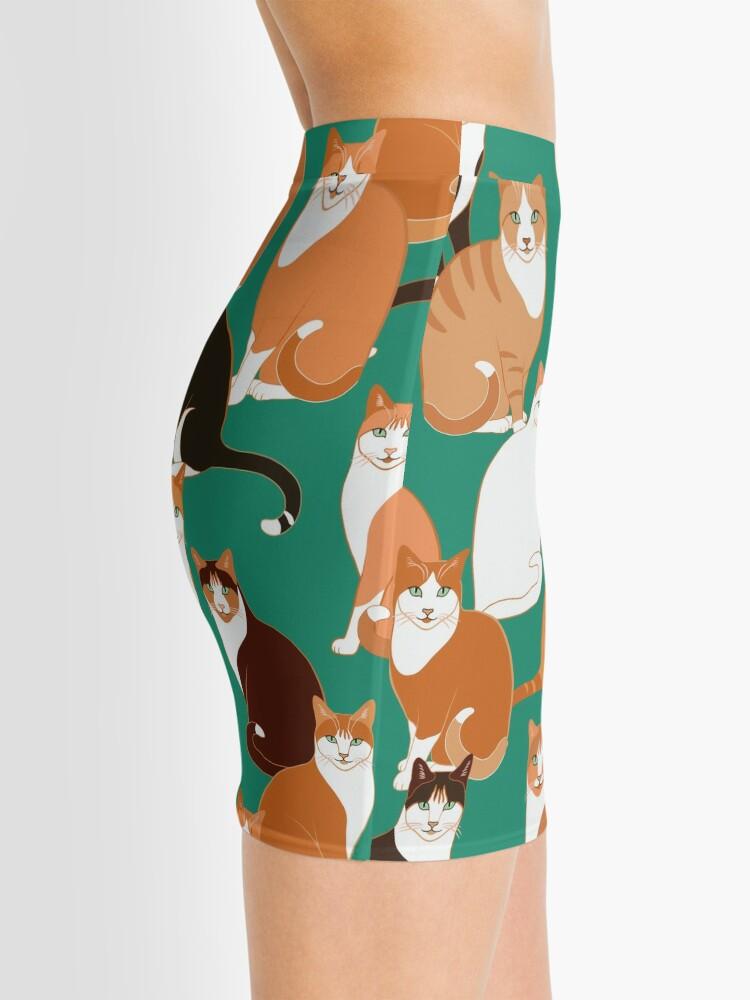 Alternate view of Ginger Cats on teal Mini Skirt