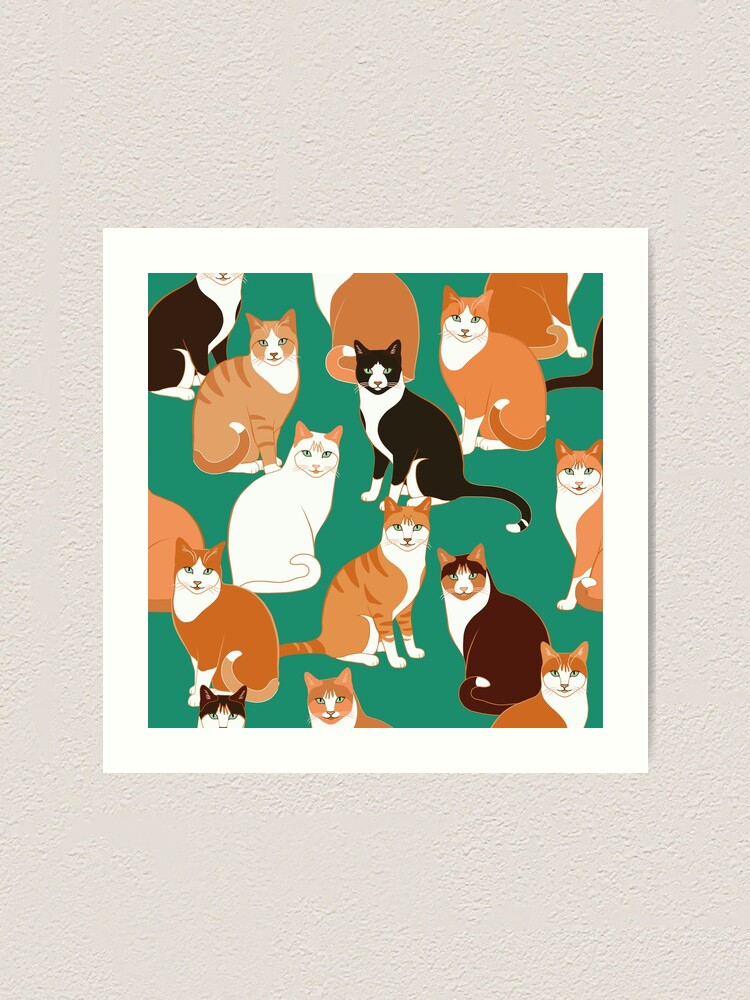 Alternate view of Ginger Cats on teal Art Print