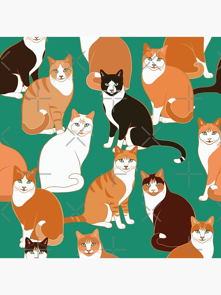 Ginger Cats on teal by nadyanadya