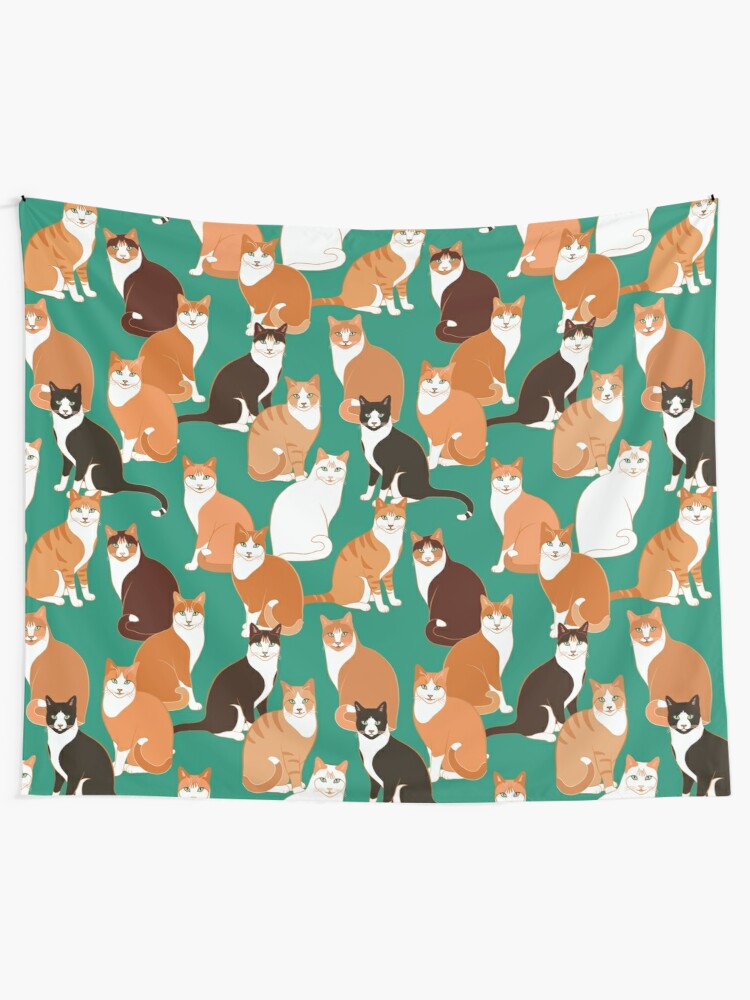 Alternate view of Ginger Cats on teal Tapestry