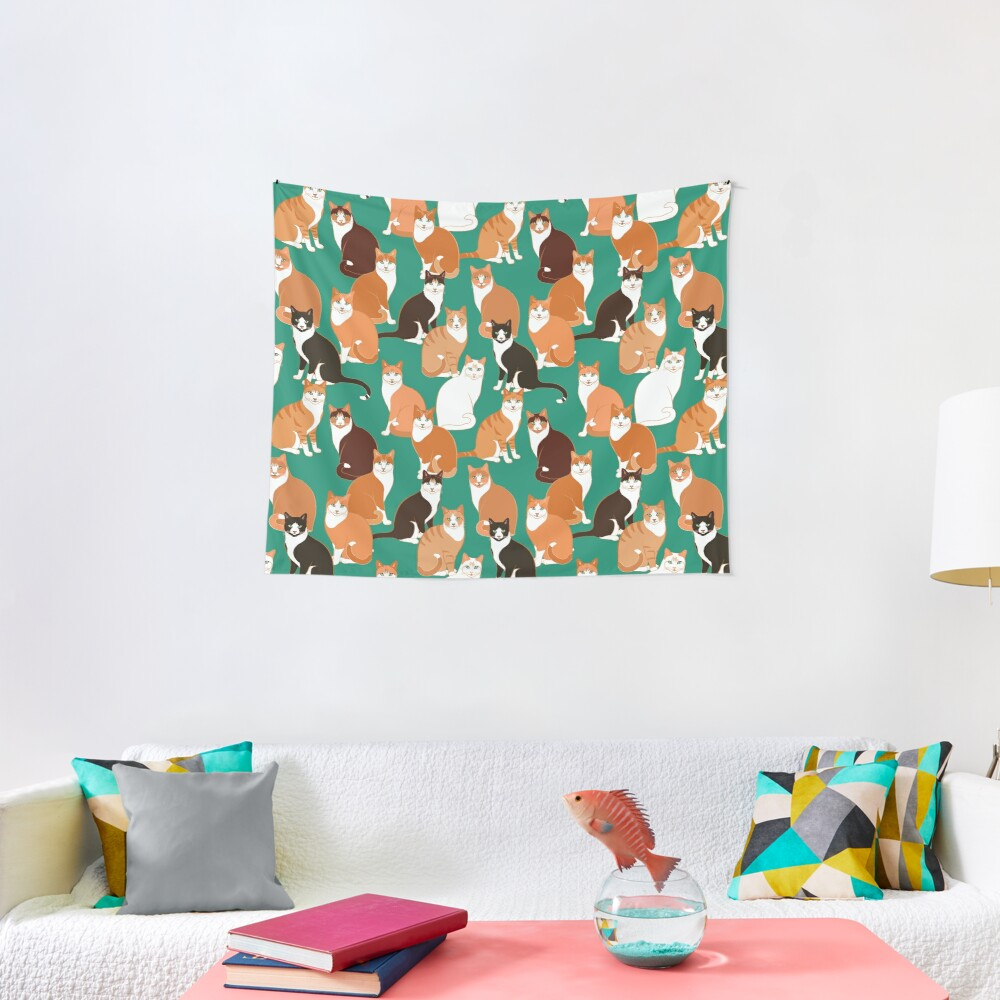 Ginger Cats on teal Tapestry