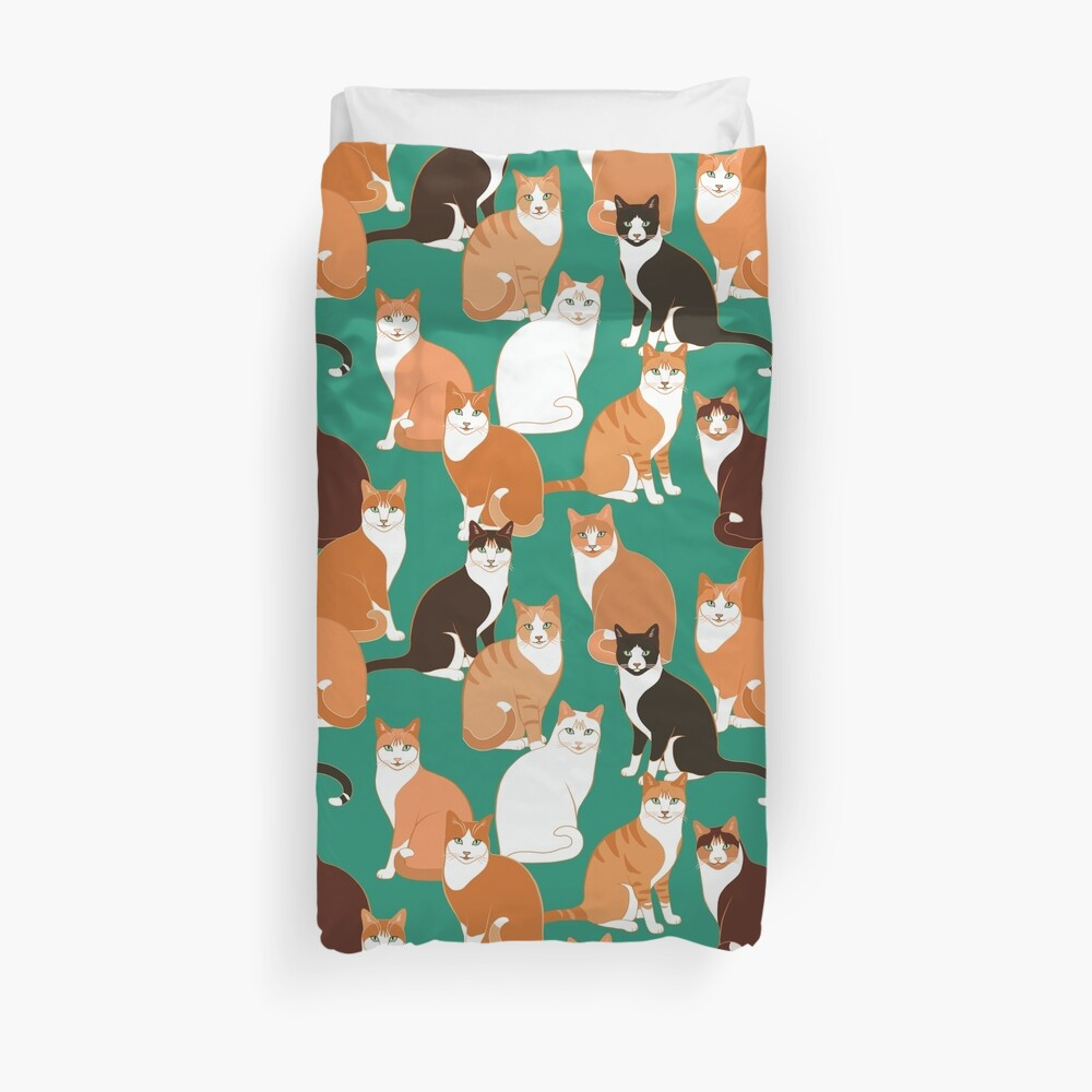 Ginger Cats on teal Duvet Cover