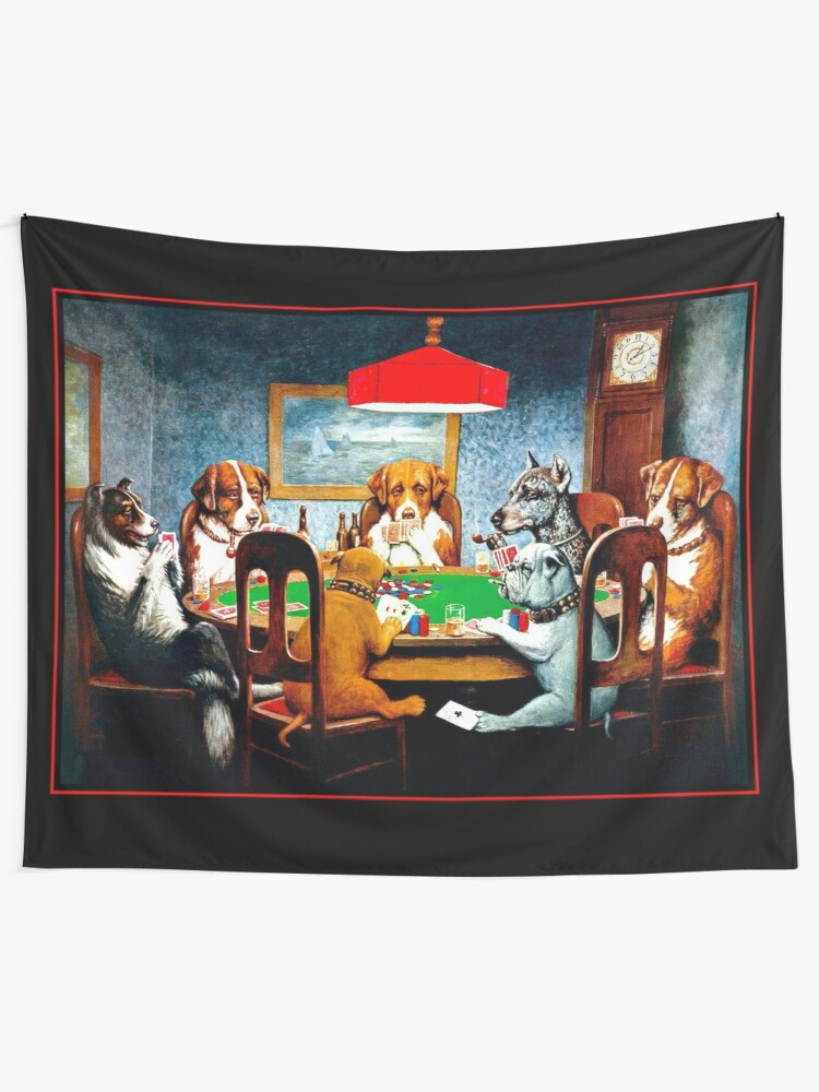 Alternate view of DOGS PLAYING POKER : Vintage C M Coolidge Print Wall Tapestry