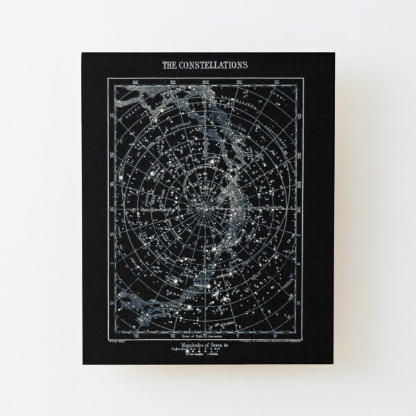 STAR CONSTELLATIONS : Vintage 1900 Galaxy Chart Map Wood Mounted Print