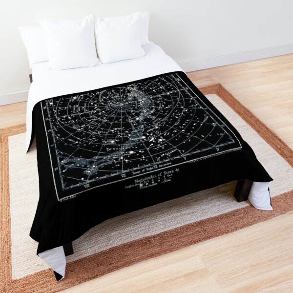 STAR CONSTELLATIONS : Vintage 1900 Galaxy Chart Map Comforter
