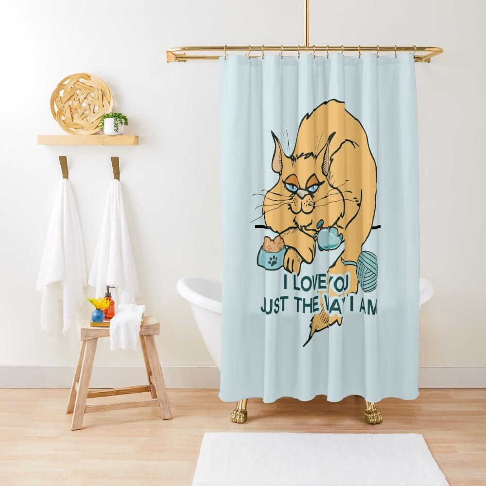 Lustiges Cartoon-Katzen-Sprichwort Duschvorhang
