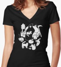 Death And His Cats Fitted V-Neck T-Shirt