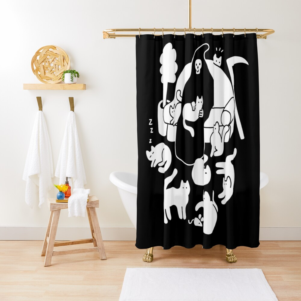 Death And His Cats Shower Curtain
