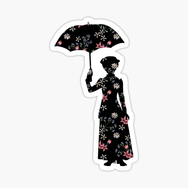 Mary Poppins Floral Silhouette Sticker Sticker