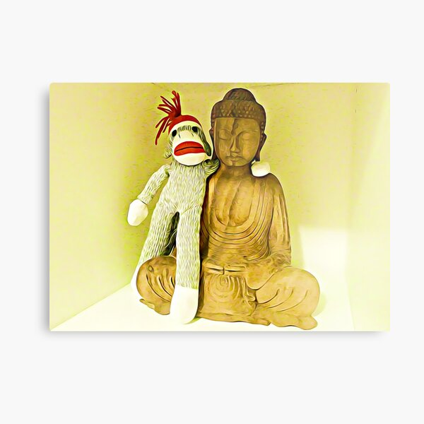 Monkey Sock Puppet Selfie With Buddha Metal Print