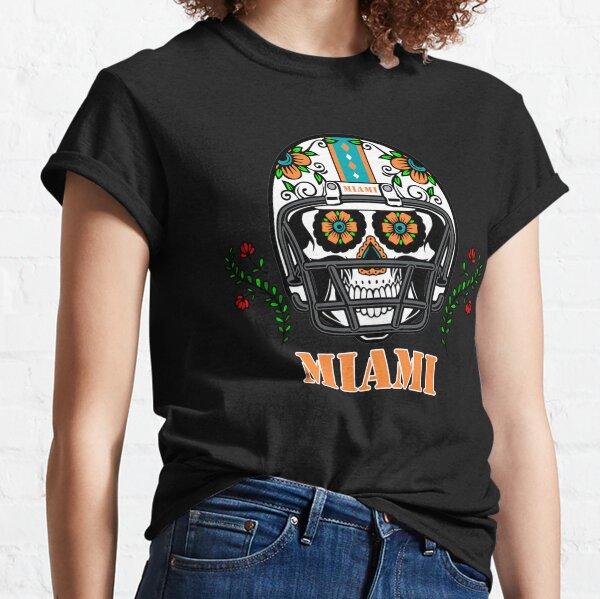 Miami Football Helmet Sugar Skull Day Of The Dead Classic T-Shirt