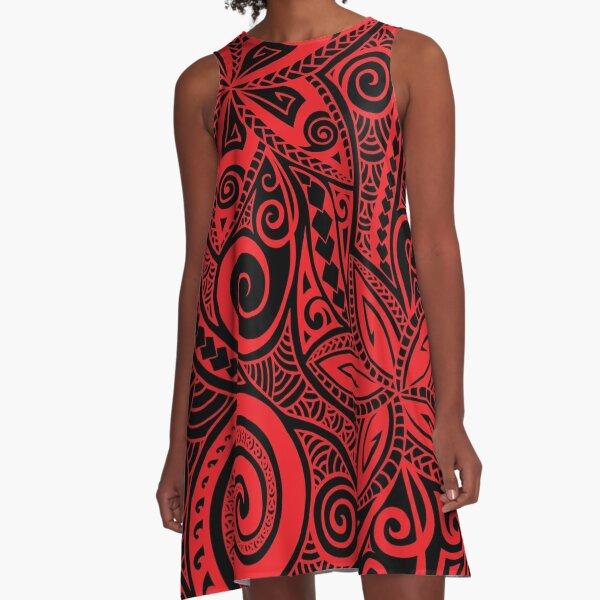 Red black Polynesian floral design A-Line Dress