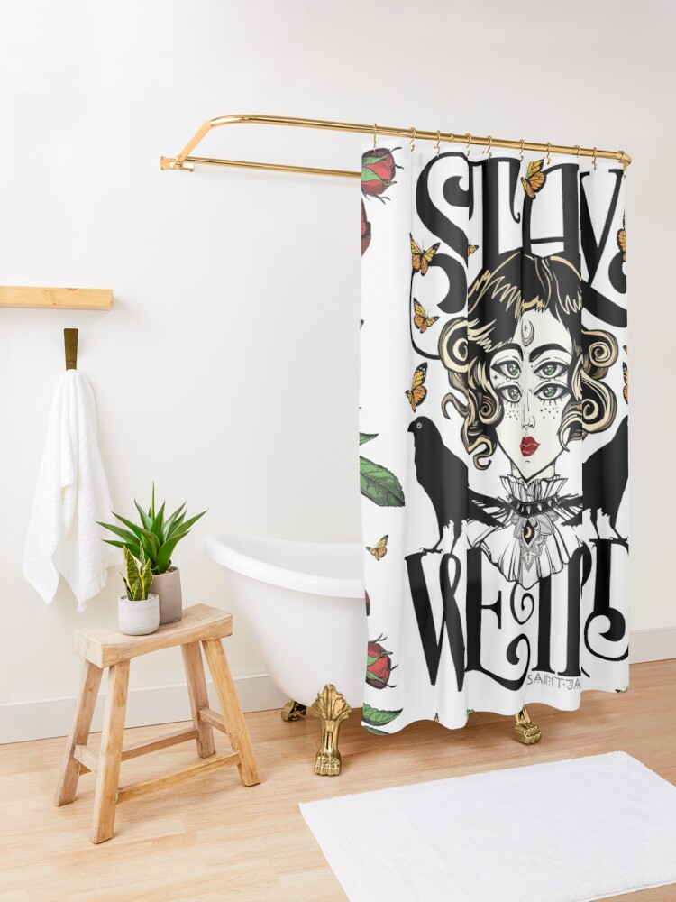 Alternate view of Rose and The Ravens {Stay Weird} Colour Version Shower Curtain
