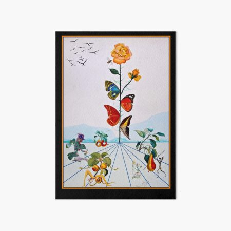 BUTTERFLY ROSE : Vintage Abstract Dali Painting Print Art Board Print