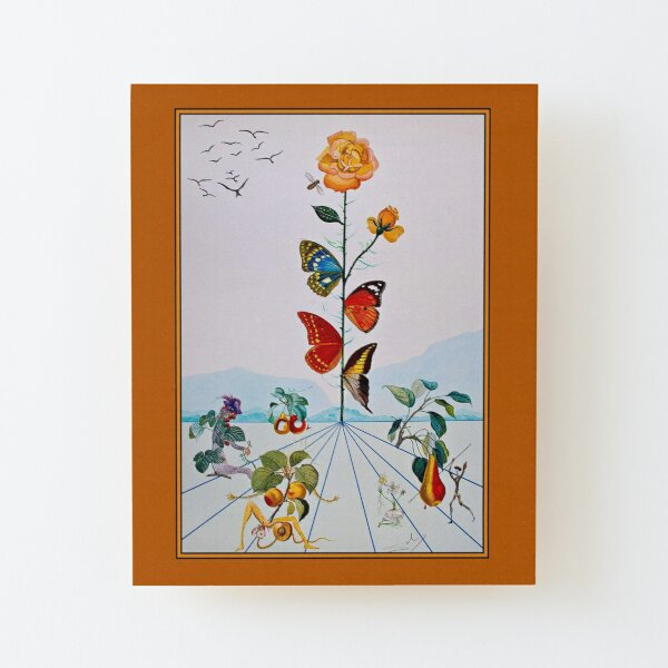 BUTTERFLY ROSE : Vintage Abstract Dali Painting Print Wood Mounted Print
