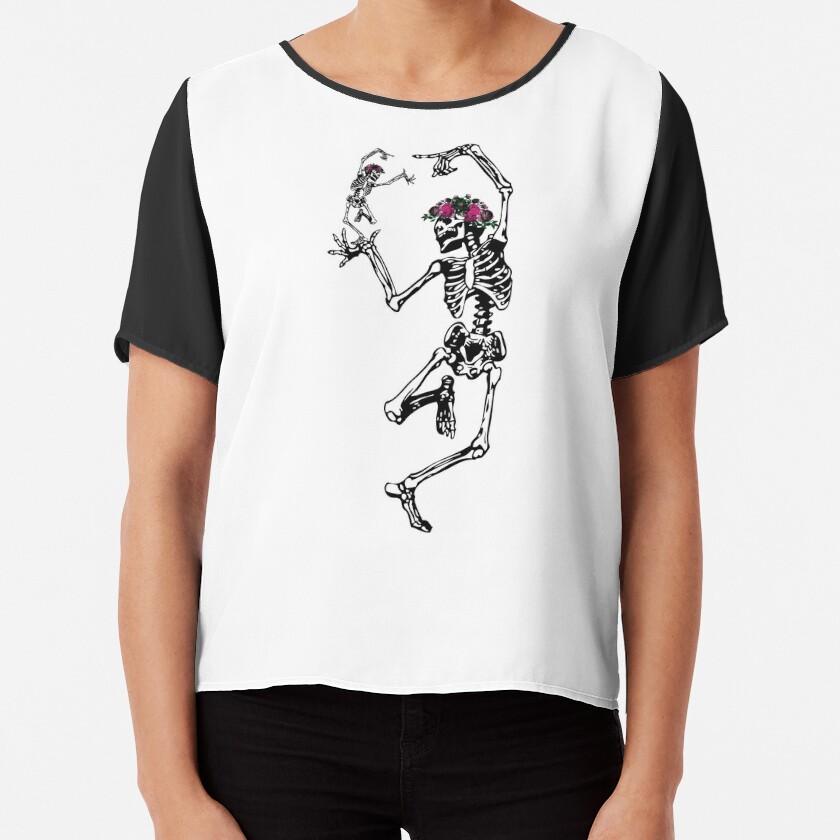 Two Dancing Skeletons   Day of the Dead   Dia de los Muertos   Skulls and Skeletons   Chiffon Top