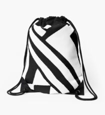 White and Black Dazzle Drawstring Bag