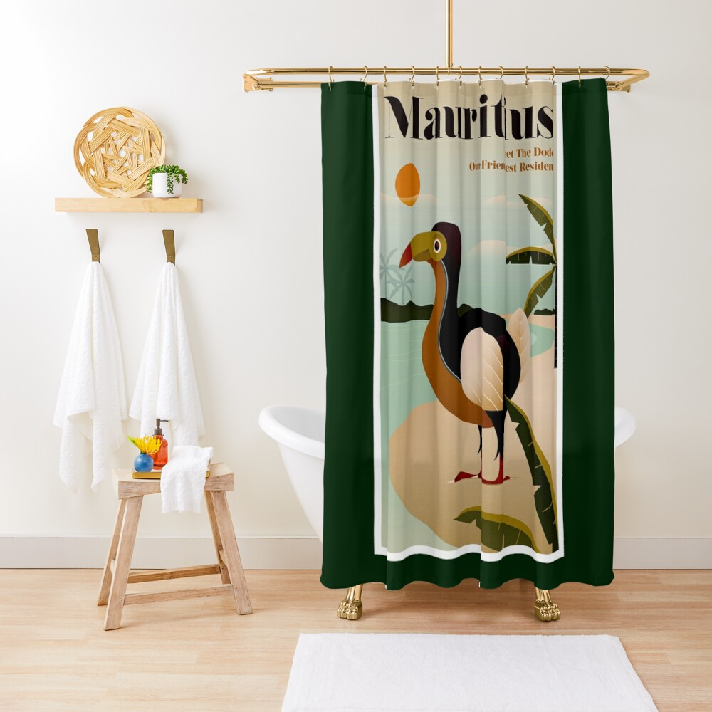MAURITIUS; Vintage Travel and Tourism Print Shower Curtain