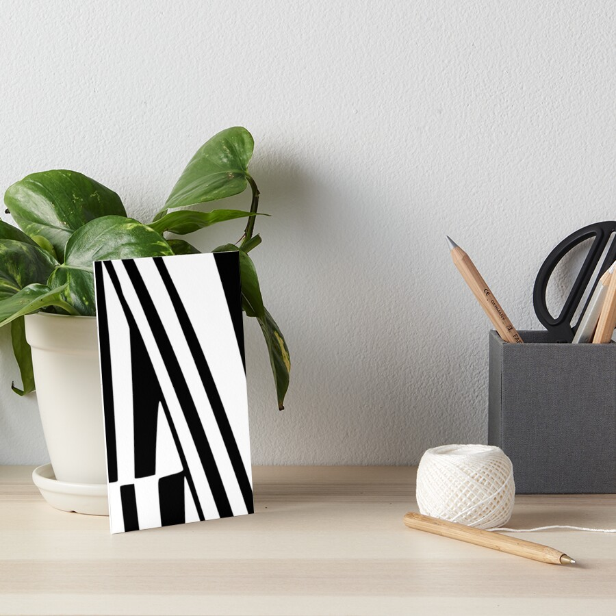 White and Black Thin Dazzle Art Board Print