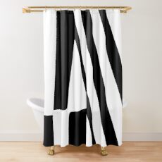 White and Black Thin Dazzle Shower Curtain
