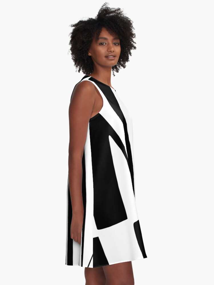 Alternate view of White and Black Thin Dazzle A-Line Dress
