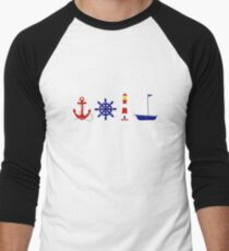 Nautical Illustration  Baseball ¾ Sleeve T-Shirt