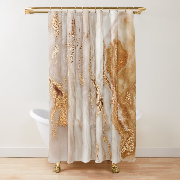 Glamorous Gold (Faux) Glitter Vein (Faux) Marble With (Faux) Copper Sparkles Shower Curtain