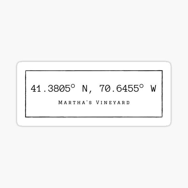 Martha's Vineyard Coordinates Sticker