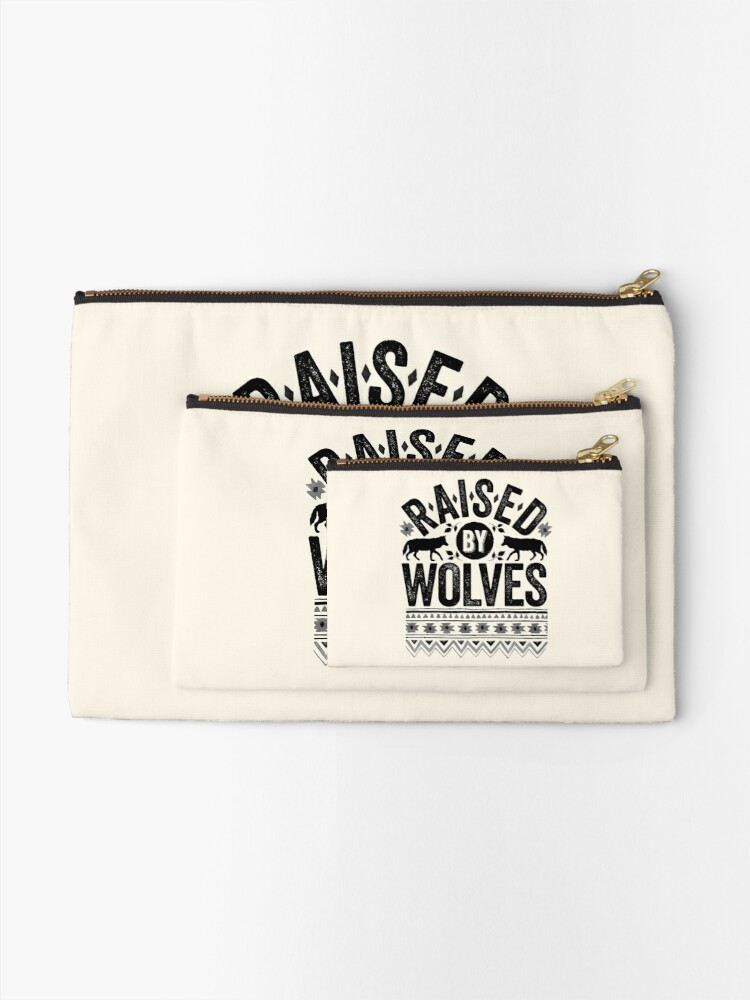Alternate view of Raised By Wolves {Black + White} Zipper Pouch