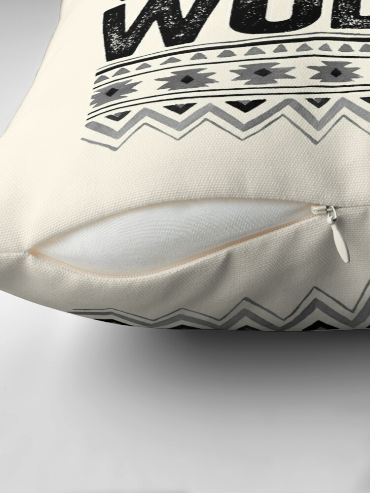 Alternate view of Raised By Wolves {Black + White} Throw Pillow