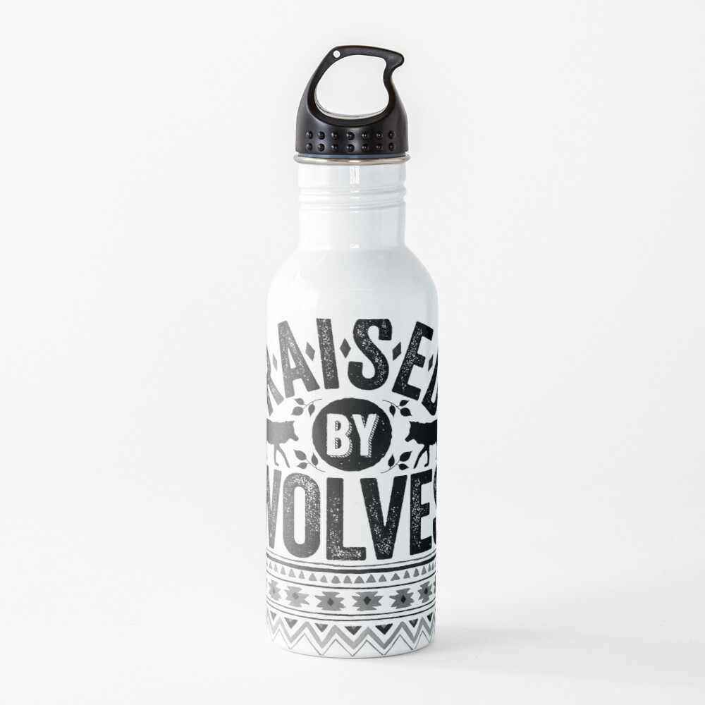 Raised By Wolves {Black + White} Water Bottle
