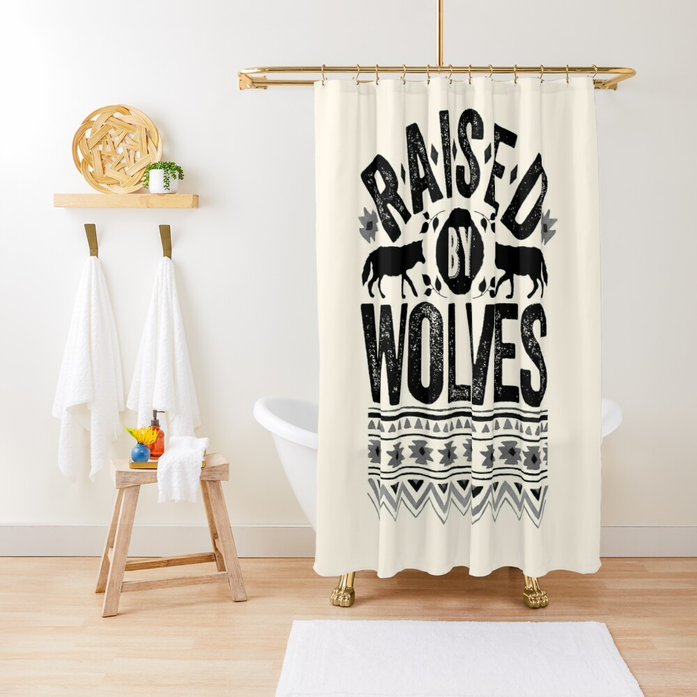 Raised By Wolves {Black + White} Shower Curtain