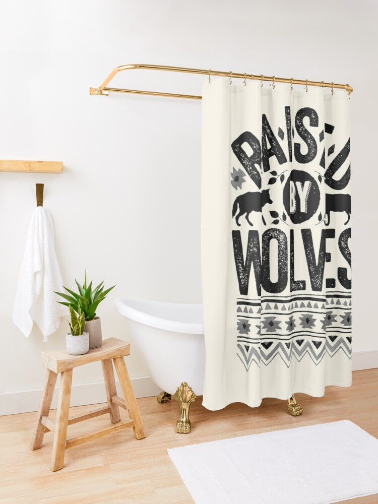 Alternate view of Raised By Wolves {Black + White} Shower Curtain
