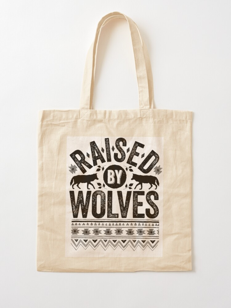 Alternate view of Raised By Wolves {Black + White} Tote Bag