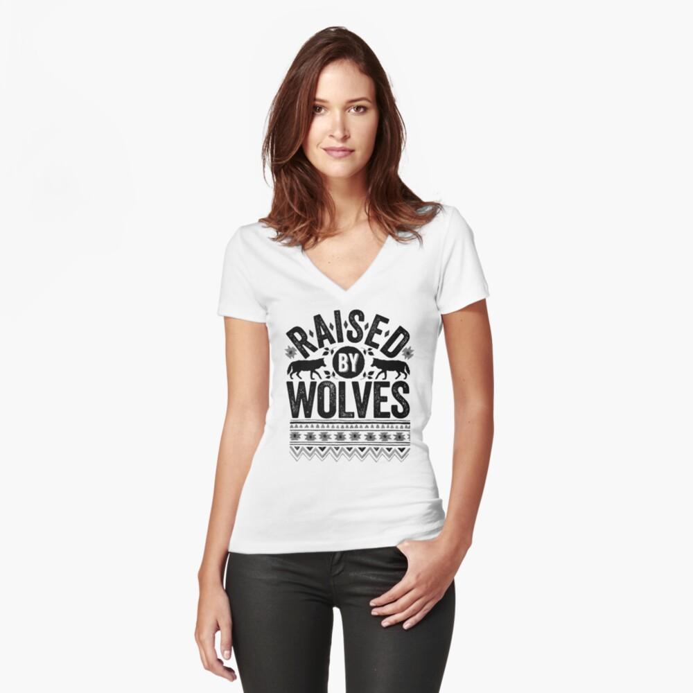Raised By Wolves {Black + White} Fitted V-Neck T-Shirt