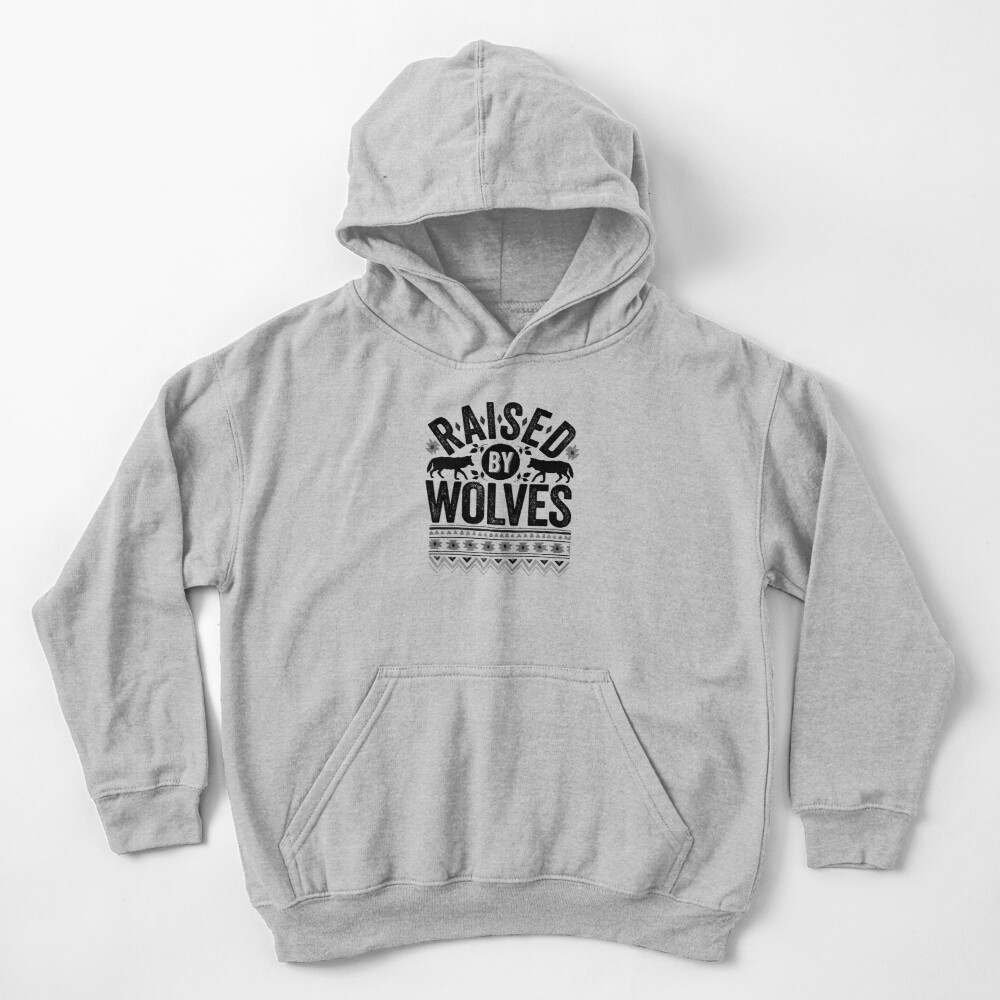 Raised By Wolves {Black + White} Kids Pullover Hoodie